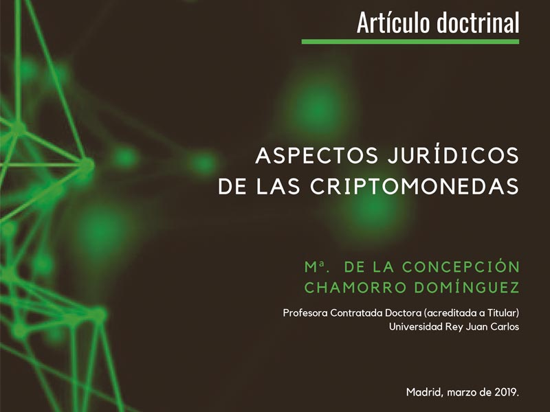 Portada Artículo Aspectos Jurídicos de las Criptomonedas M de la Concepción Chamorro